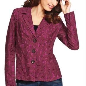 CABI #128 Plumberry Floric Lace Blazer Jacket~6